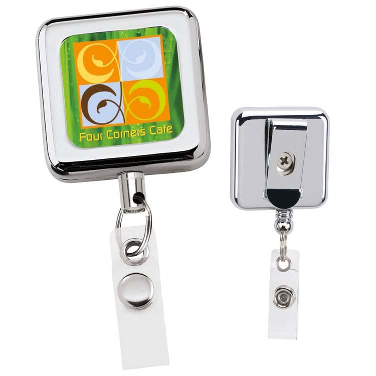 Porte-badge rétractable en métal carré