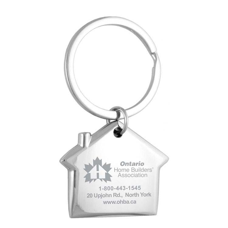 Porte-clés maison en métal gravé