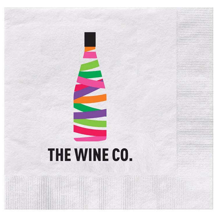 Serviette cocktail gaufrée en papier imprimée en couleur