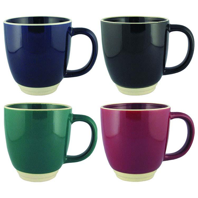 Tasse en céramique Halo fini brillant en couleur solid 12 oz