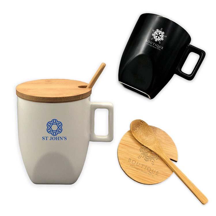 Tasse en céramique avec couvercle et cuillère en bambou 10 oz