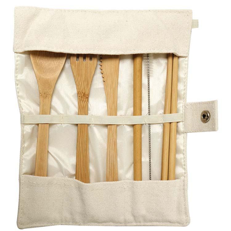 Ustensiles fait de bambou avec pochette Green Bay #2