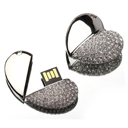 Clé USB coeur avec pierres
