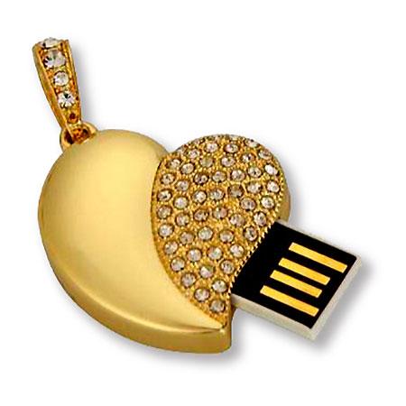 Clé USB coeur or