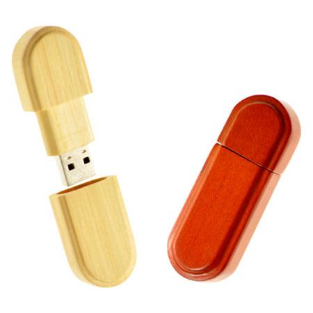 Clé USB oblongue en bois